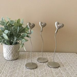 3 Silver Heart Clip Photo Place. Are Holders